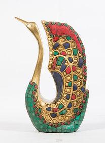Arihant Craft Ethnic Decor Swan Statue Sculpture Showpiece Stone Work   24.5 cm (Brass, Multicolour)
