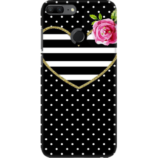 Coberta Case Designer Printed Back Cover For Huawei Honor 9 Lite - Heart Texture Black Stripes Design