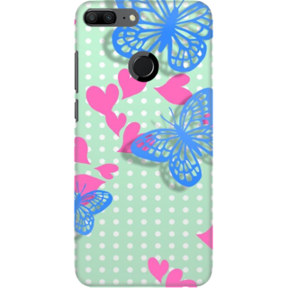 Coberta Case Designer Printed Back Cover For Huawei Honor 9 Lite - Butterflies Hearts Grunge Design