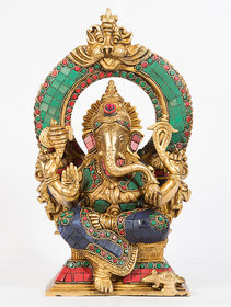 Arihant Craft Hindu God Ganesha Idol Ganpati Statue Sculpture Stone Hand Craft Showpiece  30 cm (Brass, Multicolour)