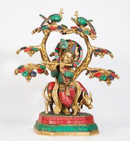 Arihant Craft Hindu God Krishna Idol Kanha Statue  Kanahiya Sculpture Hand Craft Showpiece  33.5 cm (Brass, Multicolor)