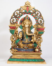 Arihant Craft Hindu God Ganesha Idol Ganpati Statue Sculpture Stone Hand Craft Showpiece  39.5 cm (Brass, Multicolour)