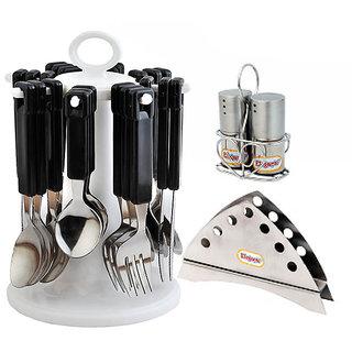 Shhira Elegante Combo of Table Craft Cutlery with Napkin Holder Salt n pepper Black