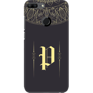 Coberta Case Designer Printed Back Cover For Huawei Honor 9 Lite - Gold Color Name Initial Alphabet P Design