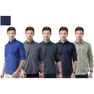 Spain Style Men Printed Casual  Shirt Set Of 5 For Men