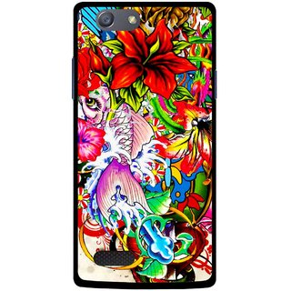 Snooky Printed Horny Flowers Mobile Back Cover For Oppo Neo 7 - Multicolour
