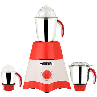 Sunmeet 600 Watts Red-White Color Mixer Grinder with 3 Jar (1 Midium Jar 1 Large Jar and 1 Chuntey Jar) Direct Factory Outlet Save On Retailer margin.