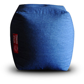 Home Story Denim Square Ottoman L Size Blue Color Cover Only