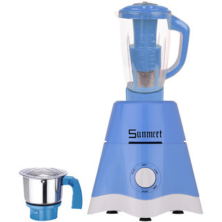Sunmeet Yellow Color 600 Watts Blue Color Mixer Juicer Grinder with 2 Jar (1 Juicer Jar with filter and 1 Chuntey Jar)