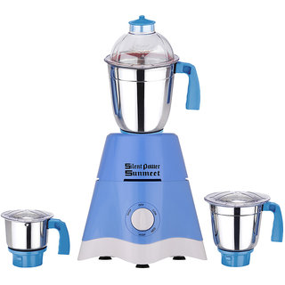 SlientPowerSunmeet 600 Watts Blue Color Mixer Grinder with 3 Jar (1 Midium Jar 1 Large Jar and 1 Chuntey Jar) Direct Factory Outlet Save On Retailer margin.