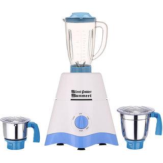 SilentPowerSunmeet Yellow Color 600Watts White-Blue Color Mixer Juicer Grinder with 3 Jar (1 Juicer Jar without filter 1 Medium Jar and 1 Chuntey Jar)