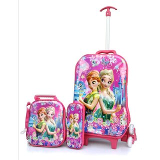 Baby Oodles Pink Frozen Trolley Bag For Kids