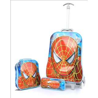 Baby Oodles Blue Spiderman Trolley Bag For Kids