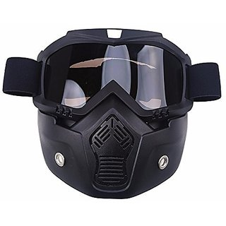 STAR SHINE   STYLISH AND PROTECTIVE BIKE FACE MASK WITH GLASSES for  For Royal  Classic 350