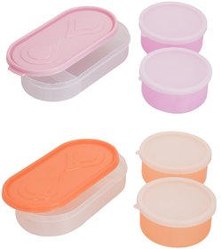 Carrolite Combo 3in1 Pink - 3in1 Orange Container 4 Plastic container 2chappati tray