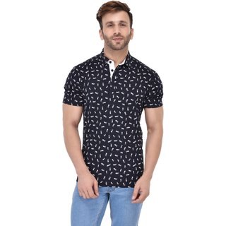 Gent Collar Scissors Print Blue T Shirt