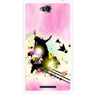 Snooky Printed Flying Man Mobile Back Cover For Sony Xperia C - Multicolour