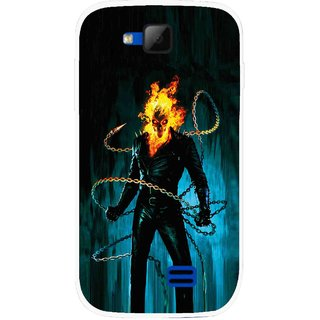 Snooky Printed Ghost Rider Mobile Back Cover For Micromax Canvas Fun A63 - Multicolour