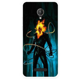 Snooky Printed Ghost Rider Mobile Back Cover For Micromax Canvas Spark Q380 - Multicolour