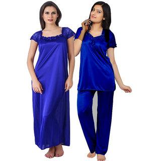 Women's Satin Top and Pyjama Night Suit (Free Size)