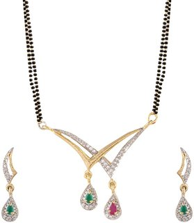 Bhagya Lakshmi Gold Plated Red And Green Ruby Studded Mangalsutra Necklace set Tanmaniya With Earring For Women