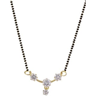 Aabhu Trendy Gold Plated 3 Solitaire CZ Mangalsutra Tanmaniya Jewellery For Women