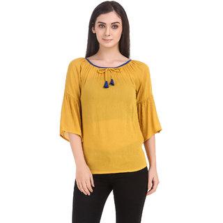 Delux Look Women's Yellow Rayon Crop Tops