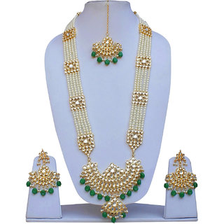 Lucky Jewellery Imperial Green Color Pearl With Kundan Gold Plating Necklace Set For Girls & Women