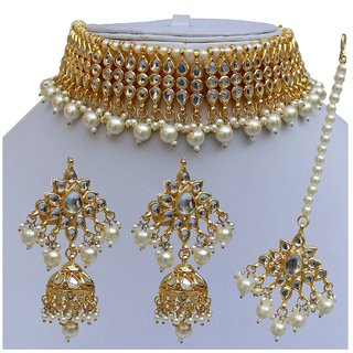 e5839d3d8c138 Lucky Jewellery Designer White Color Kundan Stone Gold Plating Choker  Necklace Set For Girls Women