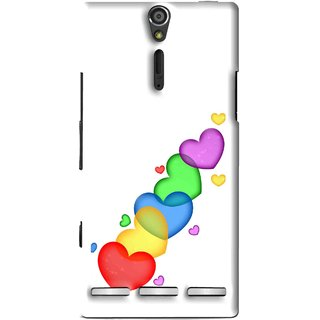 Snooky Printed Colorfull Hearts Mobile Back Cover For Sony Xperia S - Multi