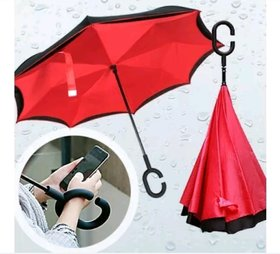 Double Layer Inverted Umbrella - Reversible Umbrella with C-Shaped Handle