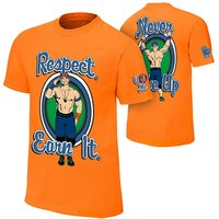 Unity Enterprises Men's Orange Round Necj John Cena Respect. Earn It. T-Shirt