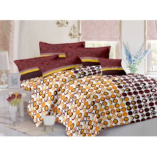 Valtellina Cotton Polka Brown Double Bedsheet with 2 Contrast Pillow Covers(TC-129)ZBA-08