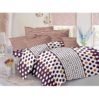Valtellina Cotton Polka White Double Bedsheet with 2 Contrast Pillow Covers(TC-129)ZBA-028