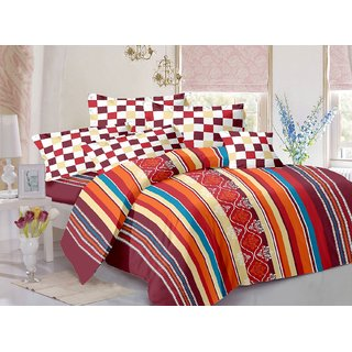 Welhouse Cotton Stripes Multicolor Double Bedsheet with 2 Contrast Pillow Covers(TC-129)ZBA-018
