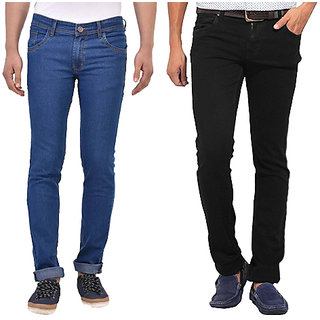 Stylox Men'S Black  Blue Comfort Fit Jeans (Pack Of 2)