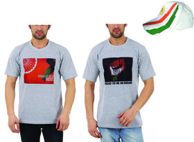 Vestiario Printed Independence day T-shirt combo of 2 WITH FREE CAP