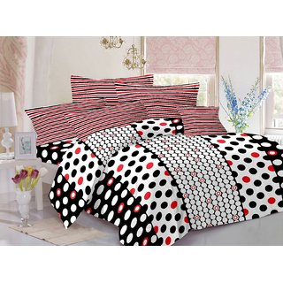 Welhouse Cotton Polka White Double Bedsheet with 2 Contrast Pillow Covers(TC-129)ZBA-029