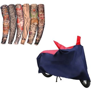 HMS Two wheeler cover with Sunlight protection for Yamaha SS 125 + Tatoo Free Arm Sleeves - Colour RED AND BLUE