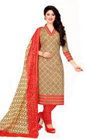 Drapes womens Beige Cotton Printed Dress Material (UnStitched) DF1848
