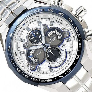 CASIO EDIFICE EF554D 7AVD WHITE BLUE DIAL CHRONOGRAPH MENS WRIST WATCH GIFT MALL