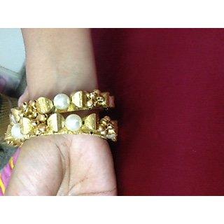 Golden Meenakari Bangles With Kundan Work For Karwachauth and Diwali