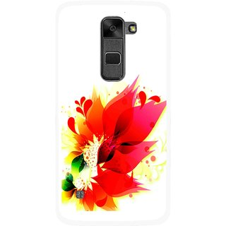 Snooky Printed Flowery Red Mobile Back Cover For Lg Stylus 2 - Multi
