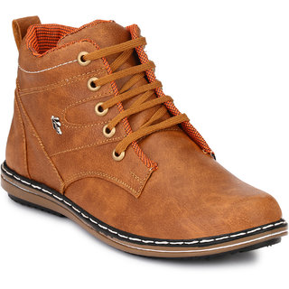 Knoos Men Tan Synthetic Lace-up Leather Hunk Boots