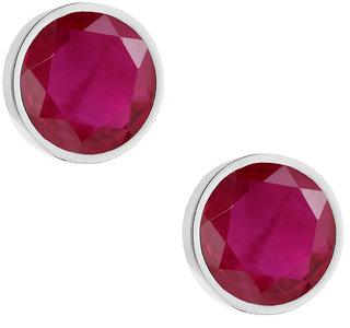 PeenZone 92.5 Silver Ruby Ear Tops For Women  Girls