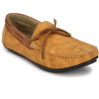Knoos Men'S Synthetic Leather Tan Loafers