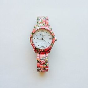KDS Geneva Floral Print Watch- Peach