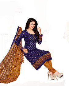 Drapes womens Blue Cotton Printed Dress Material (UnStitched) DF1850