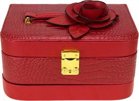ZEVORA Leather Look Flower Cosmetic Organizer Makeup Storage Jewellery Travel Vanity Box