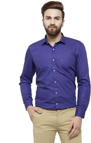 RG Designers Royal Blue Solid Slim Fit Full Sleeve Cotton Formal Shirt